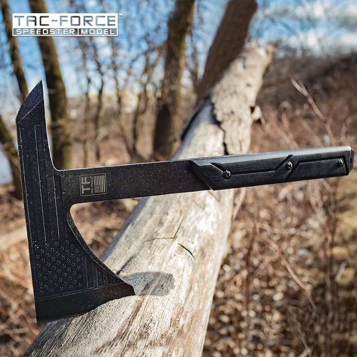 Tac-Force USA Stonewashed Tomahawk Axe With Sheath - 3Cr13 Stainless Steel Head, Etched Blade Art, Pakkawood Handle - Length 12 1/4""