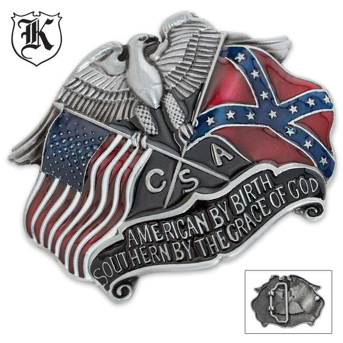 CSA American By Birth Southern By Grace Confederate Belt Buckle