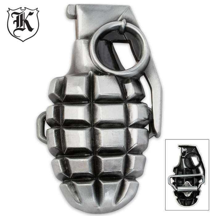 Multi Dimensional Zinc Alloy Grenade Belt Buckle