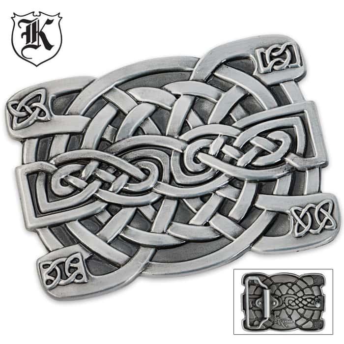 Celtic Knot Rectangular Zinc Alloy Belt Buckle Large