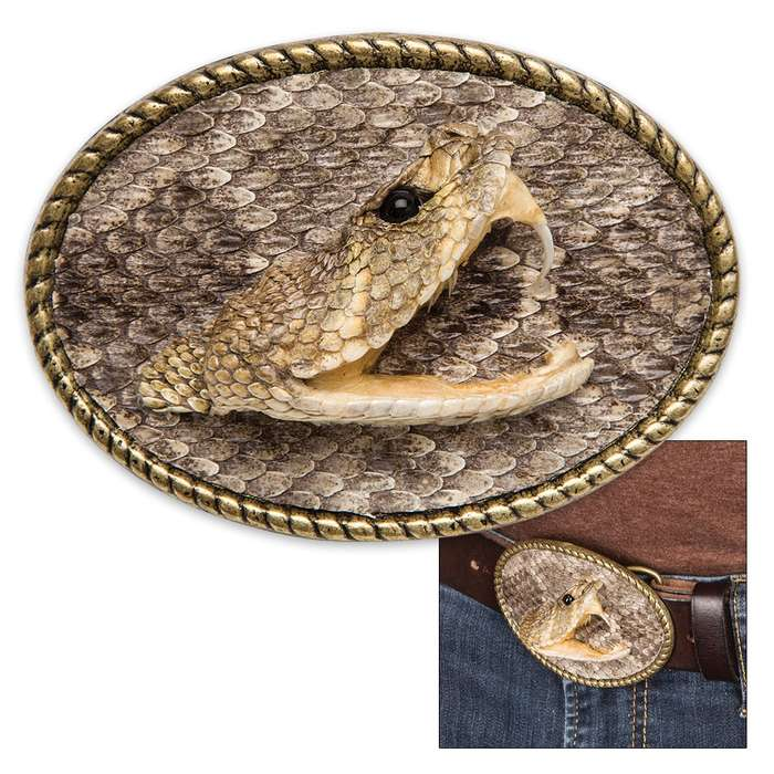 Genuine Rattlesnake Head Belt Buckle