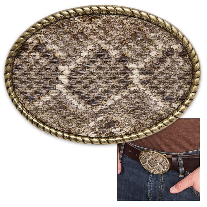 Genuine Rattlesnake Skin Belt Buckle