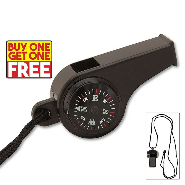 Black Super Survival Whistle - BOGO