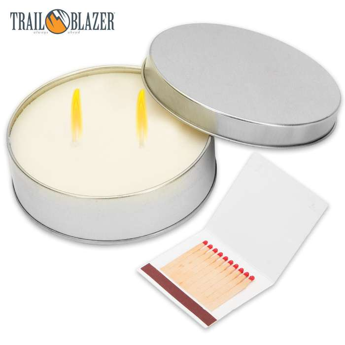 Trailblazer Two-Wick Emergency Candle And Matches - 3""