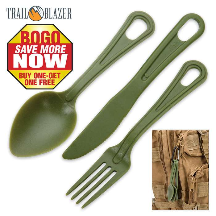Trailblazer 3-Piece Lexan Outdoor Dining Utensil Set on Carabiner - Army Green - BOGO