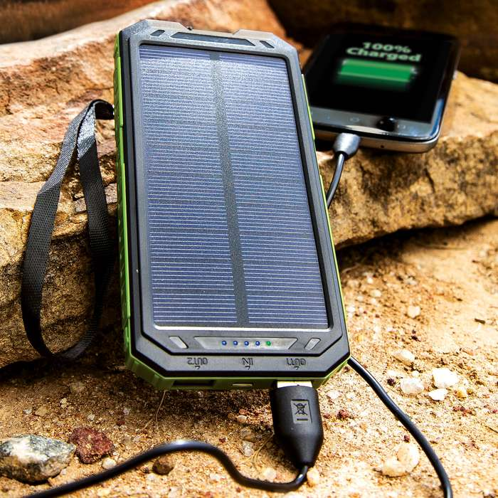 10,000 MAH Solar Charger And Power Bank With Flashlight - High Compatibility With Devices, SOS Mode, Li-Ion Polymer Battery, Water-Resistant, Shock-Proof