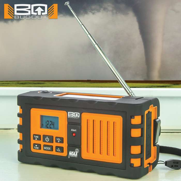 BugOut NOAA Weather Radio - Device Charger, 2200 mAH Lithium Ion Battery Backup - AM/FM, LED Flashlight, Emergency Alerts