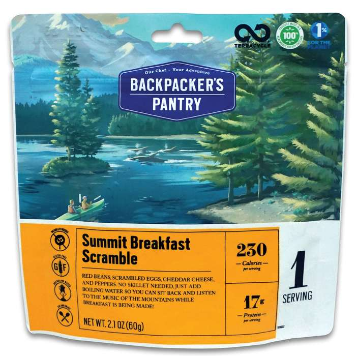 Summit Breakfast Scramble - No Skillet Required, One Serving, 230 Calories, 17g Protein, Gluten-Free, 10-Year Shelf-Life