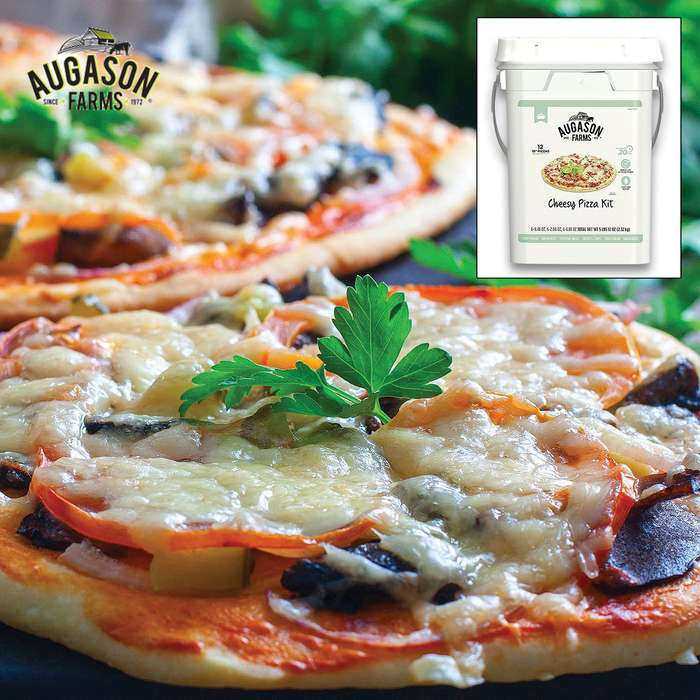 Auguson Farms Cheesy Pizza Kit - Makes 12 Pizzas, Quick And Easy, Individual Mylar Pouches - Up To 30 Years Shelf Life