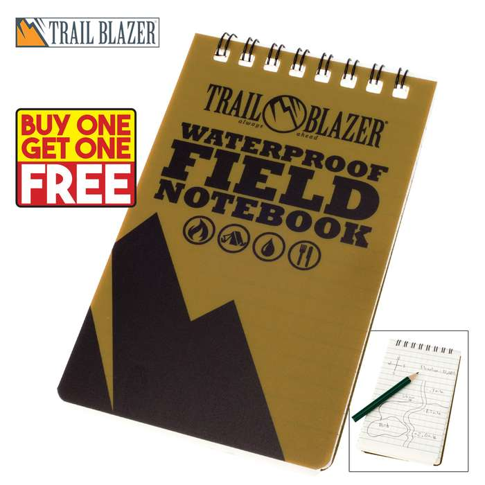 Trail Blazer Waterproof Field Notebook with Pencil -BOGO