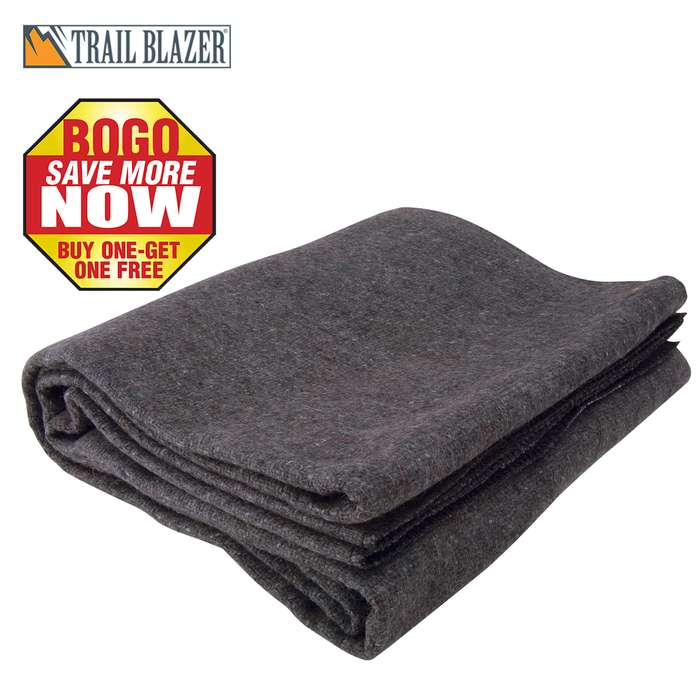 "Trailblazer Wool Blanket - Gray -51"" x 80"" - 2 Pounds - Heavy and Warm - BOGO"