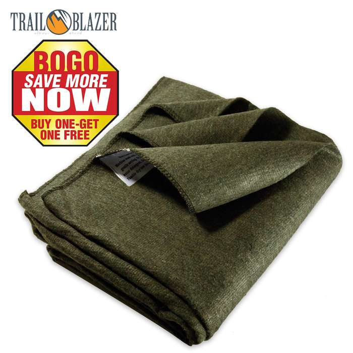 "Trailblazer Wool Blanket - Olive Drab Green - 51"" x 80"" - 2 Pounds - Heavy and Warm - BOGO"