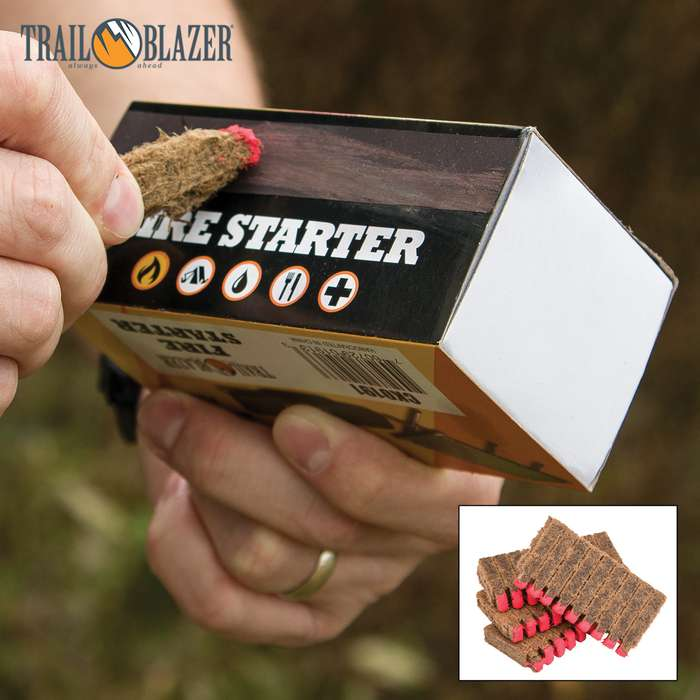 Trailblazer Fire Starter Sticks with Match Heads, 40-Pack - Striker Strip Box, Lights Like Match, Replaces Kindling, Natural, Safe