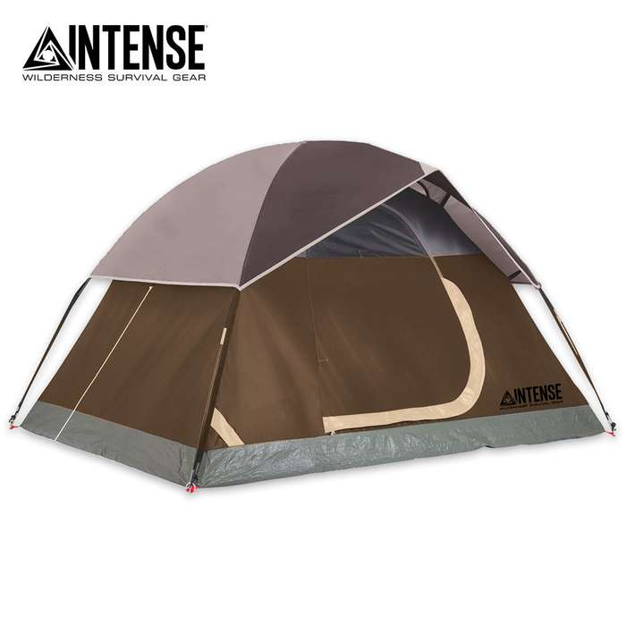 Intense Two-Person Dome Tent - Brown, Door Awning, Rainfly, Rip-Resistant Polyester Shell, Fiberglass Pole Frame, Carry Bag - Dimensions 7'x 5'x 4'