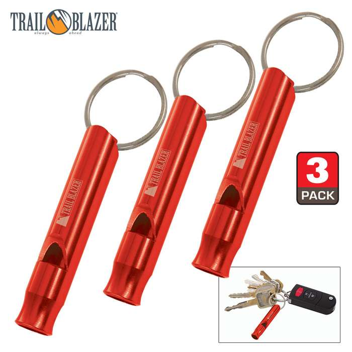 Trailblazer Red Mini Aluminum Emergency Whistles - Three-Pack - Compact Construction, Keyring