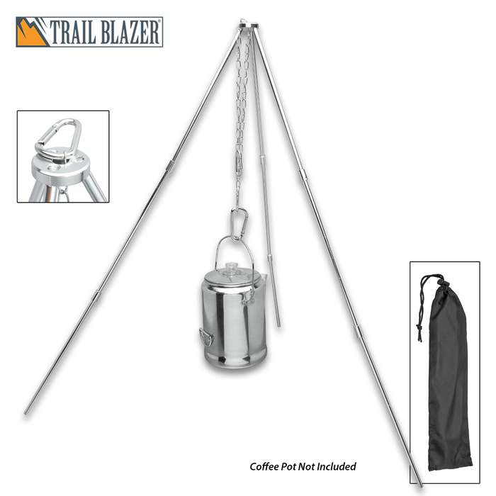 Trailblazer Portable Aluminum Tripod Hanger with Carrying Base
