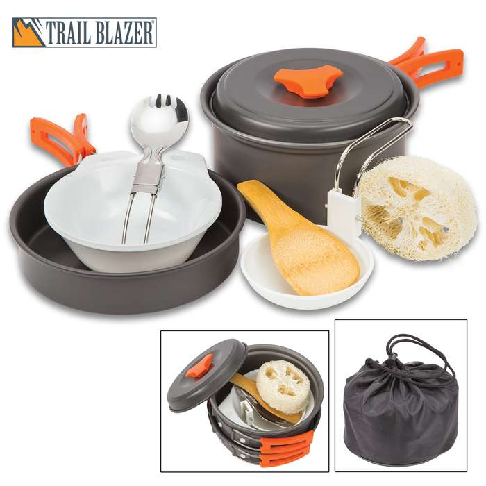 Trailblazer 2-Person Camping Cookware Set with Nylon Carrying Bag