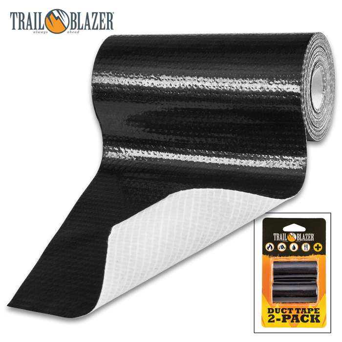 SHTF Trailblazer Two-Pack Black Duct Tape - Strong Adhesive, Durable, Waterproof, Tears Easy, Lightweight