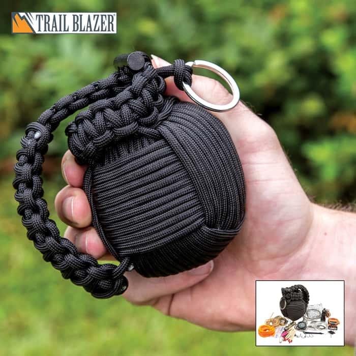 Trailblazer 48-Piece Paracord Grenade Survival Kit - LED Flashlight, Matches, Fishing Line, Sutures, Fire Starter Toggle, Mini Pocket Knife