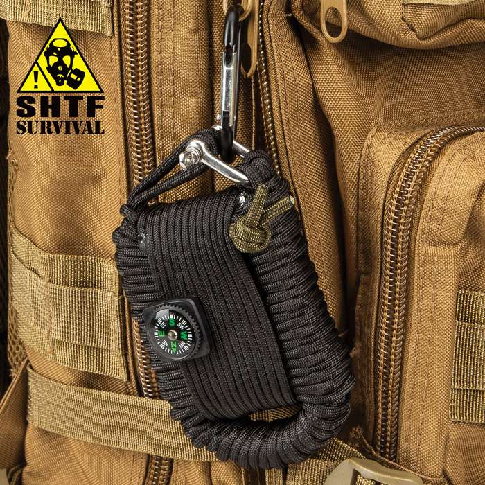 "SHTF Paracord Survival Kit With Carabiner - 20 Pieces, 550LB Paracord, Compass, Fishing Tackle - Dimensions 4 1/4""x 3"""