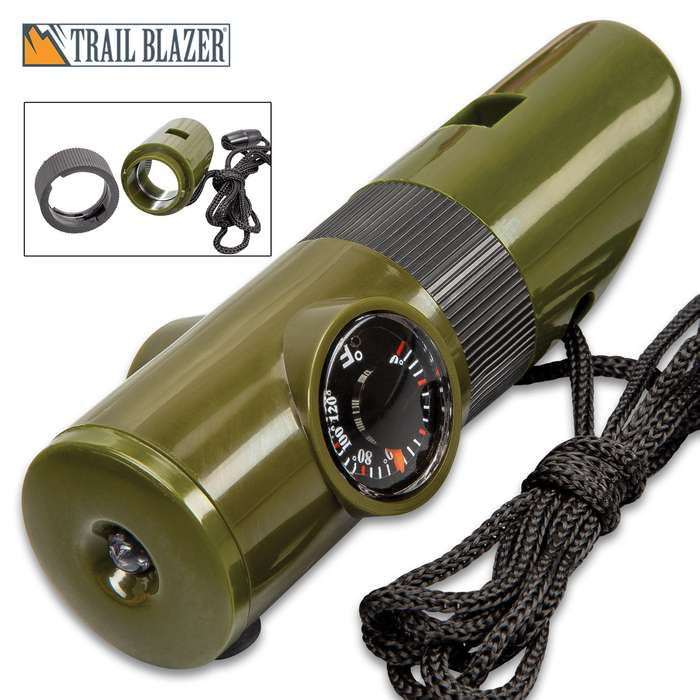 Seven-In-One Multi-Function Whistle - Weather-Resistant TPU Construction, LED Light, Compass, Lanyard Cord - Length 4""