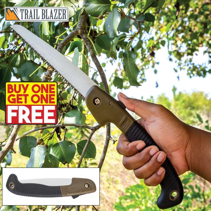 """Trailblazer Multi-Purpose Folding Saw - Stainless Steel Blade, TPR And TPU Handle, Safety Release Button - Length 10 1/2"""" - BOGO"""