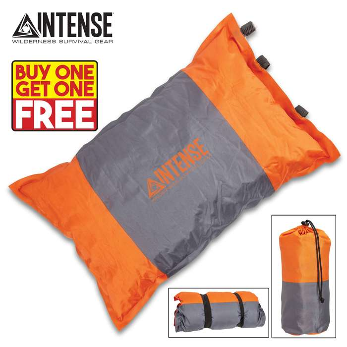 """Intense Self-Inflating Camping Pillow With Carry Bag - Polyester Outer, Polyurethane Filling, Lightweight - Dimensions 16""""x 9 1/2"""" - BOGO"""