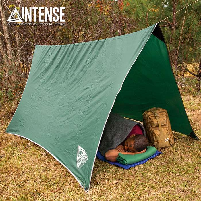 "Intense Waterproof Camping Tent/Tarp And Carry Bag - Stakes And Cord, Sturdy Nylon Construction - Dimensions 9'11""x 8'4"""
