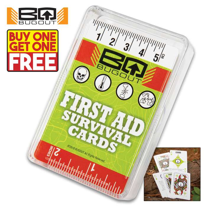 "Trailblazer First Aid Playing Cards - Made Of Sturdy Stock, Original Artwork, First Aid Information, Plastic Container - Dimensions 3 1/2""x 2"" - BOGO"