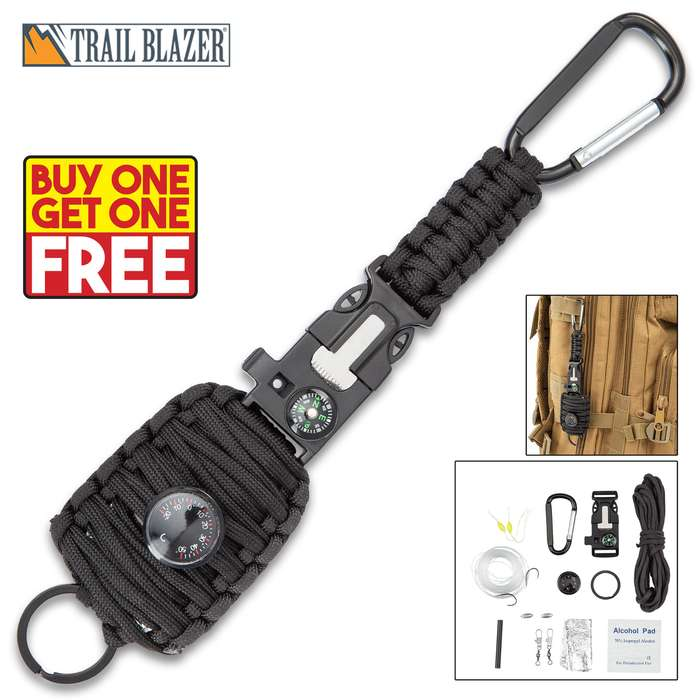 """Trailblazer Paracord Fishing Kit With Carabiner - Integrated Compass, Emergency Whistle, Key Ring, Flint And Striker, Thermometer - Length 9 1/4"""" - BOGO"""