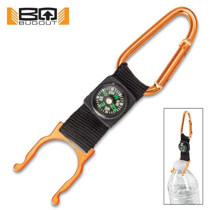 """BugOut Carabiner Bottle Holder And Compass - Stainless Steel Construction, Spring Lock Gate, Nylon Webbing Strap - Length 5"""""""
