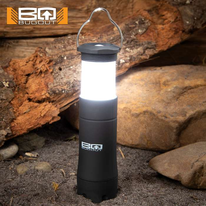 "BugOut Portable LED Emergency Lamp - Telescoping TPR Construction, Flashlight Or Lantern, Metal Hanger - Dimensions 4 1/4""x 1 1/2"""