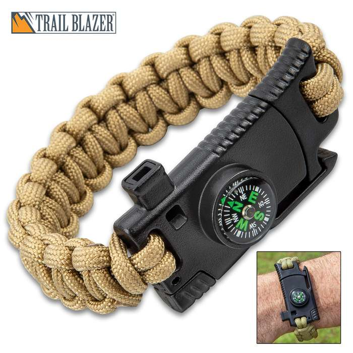 Trailblazer Survival Paracord Bracelet With Knife - Knife, Emergency Whistle, Compass, Removable Ferrocerium Rod - Length 10""
