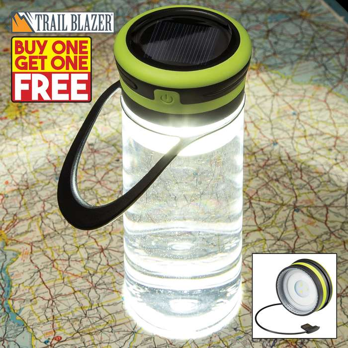 Trailblazer Solar Light Water Bottle - BPA Free, Built-In USB Charging Cable, Three Light Modes, 100 Lumens, Water-Resistant, TPR Hanger - BOGO