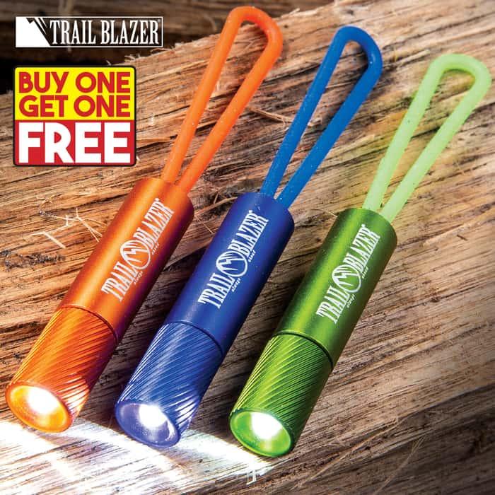"Trailblazer Rubber Band Flashlights - Three-Pack, Strong Rubber Strap, Aluminum Housing, 5-Lumen LED - Length 2 1/4"" - BOGO"
