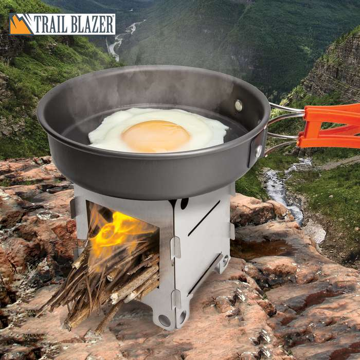 "Trailblazer Ultralight Folding Camp Stove With Pouch - Solid Stainless Steel Construction, Breaks Down Into Pieces - Dimensions 4 1/4""x 3 1/2"""