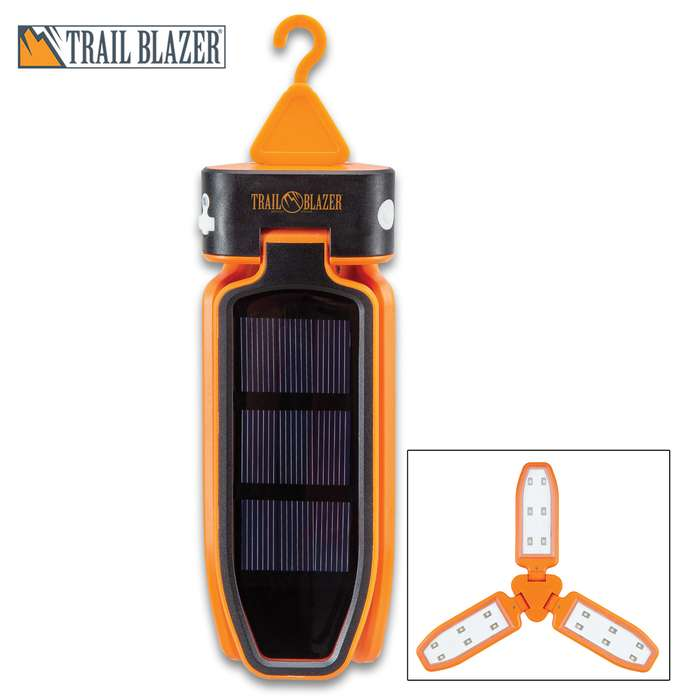 Trailblazer Tri-Folding Solar Camping Light - 18 LEDs, Built-In Battery, Micro USB Charging Cable, Tough ABS Construction, Hanging Hook