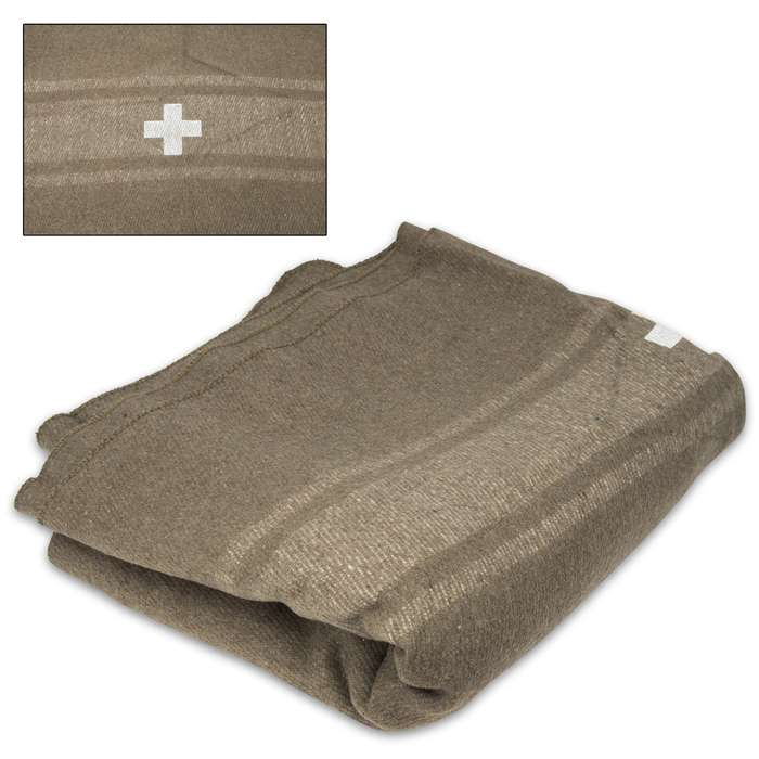 Bundle up and stay warm even in the coldest temperatures when you snuggle up in this oversized Olive Drab Swiss Army Wool Blanket