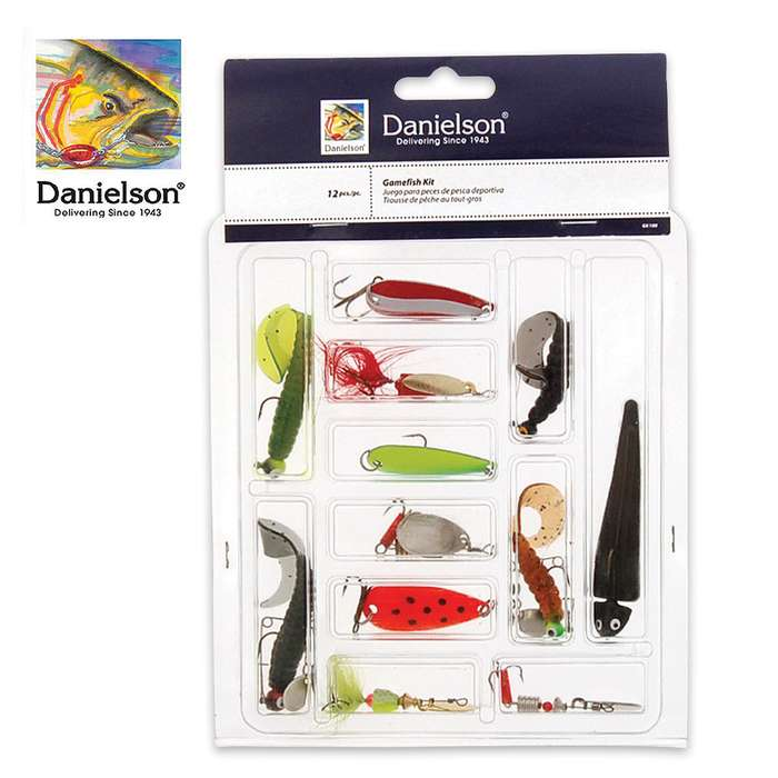 12-PC Game fishing tackle Kit - Assorted Sizes And Colors