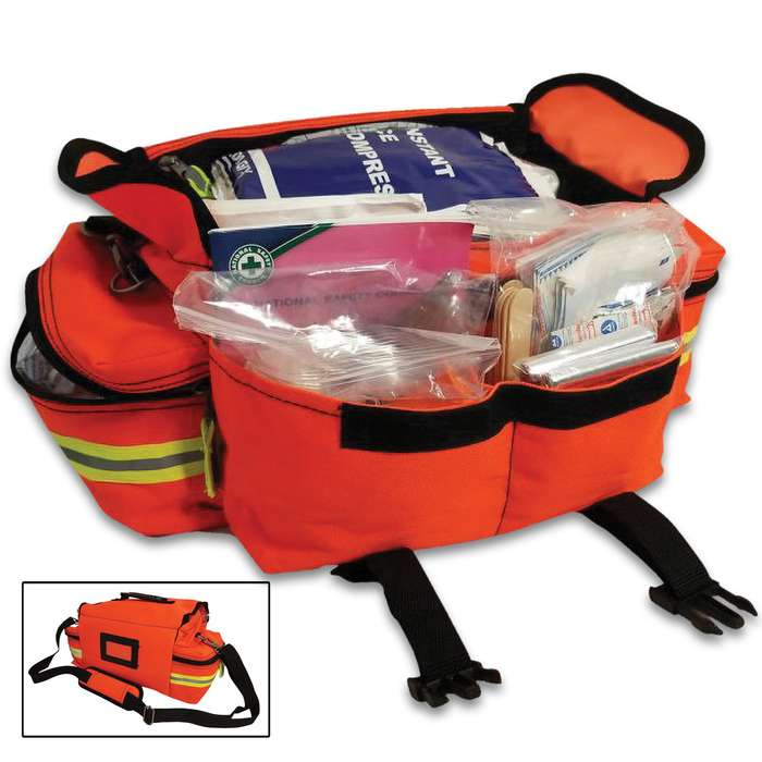 A bright orange, sturdy and spacious bag with an extremely nice and thorough set of professional first aid equipment