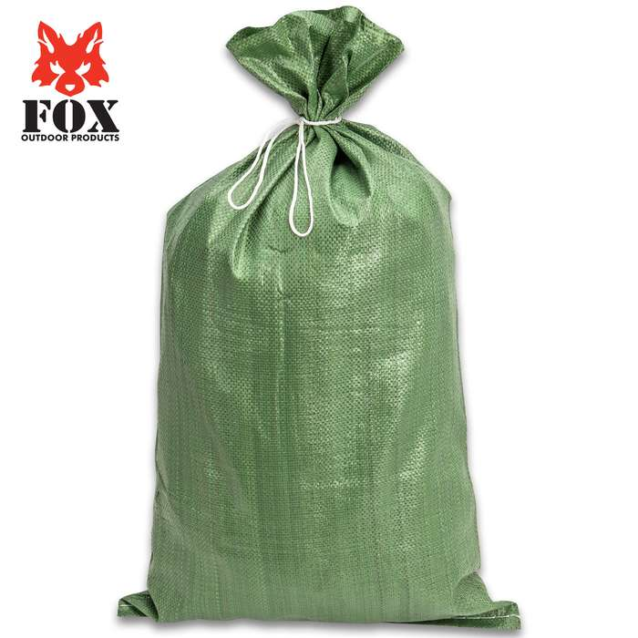"Military Style Olive Drab Sandbag - Polypropylene Construction, 15 1/2-LB Capacity, Drawstring Closure - Dimensions 27""x 16"""