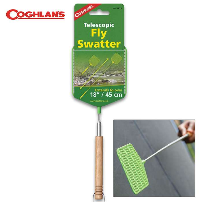 "Coghlan's Telescopic Handle Fly Swatter - Wooden Grip, Sturdy Plastic Swatter, Handle Extends to 18"", Leather Lanyard"