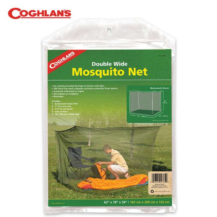 Coghlans Double Cot Mosquito Net Olive Drab