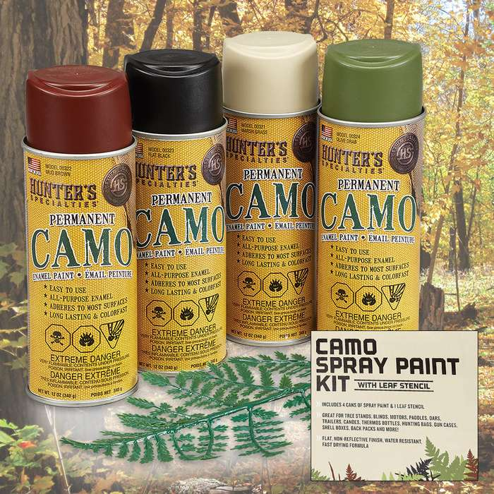 Camo Permanent Spray Paint Kit With Stencil