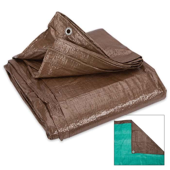 Brown And Green Reversible Tarp - 10'x 20'