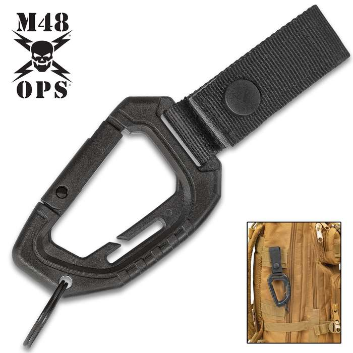 M48 MOLLE Webbing Carabiner Keychain - Solid ABS Construction, Nylon Strap, Spring Lock Opening, Built-In Buckle Clip