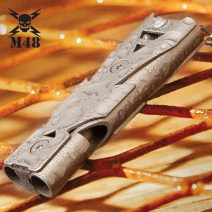 M48 Tactical Survival Whistle With Carabiner - Aircraft Grade Aluminum Construction, Non-Reflective Finish, Up To 120 Decibels - Length 2 1/4""