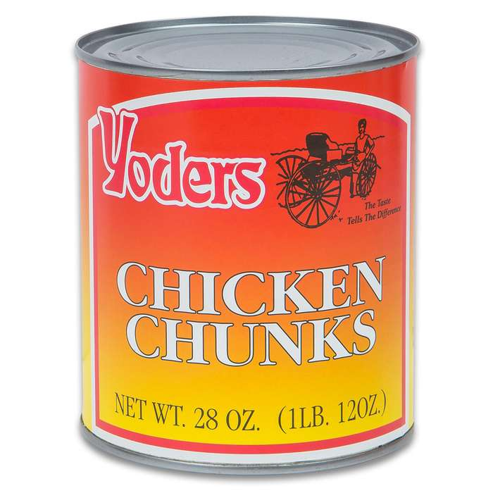 Yoders Chicken Chunks - Fully Cooked, Low-Fat, 10+ Year Shelf-Life, Produced In USA, USDA Inspected - 28 Ounces