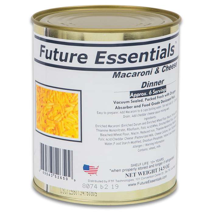 Future Essentials Macaroni And Cheese - Six Servings, 10+ Years Shelf Life - 14 Ounces