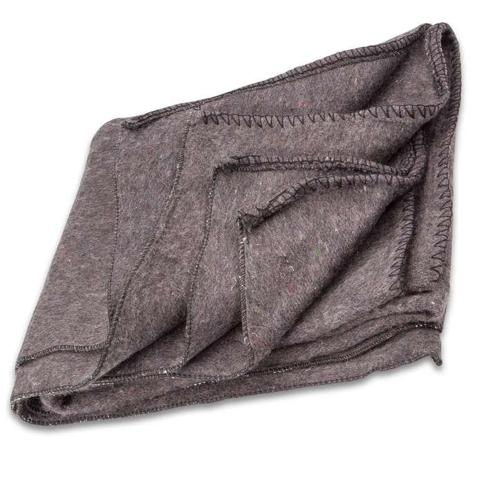 "Bulgarian Grey Wool Blanket - Like New Military Surplus, Retains Insulation When Wet, 72""x60"""
